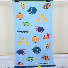 外贸出口欧美尾单纯棉割绒毛圈浴巾毛巾被79*150大浴巾海底世界