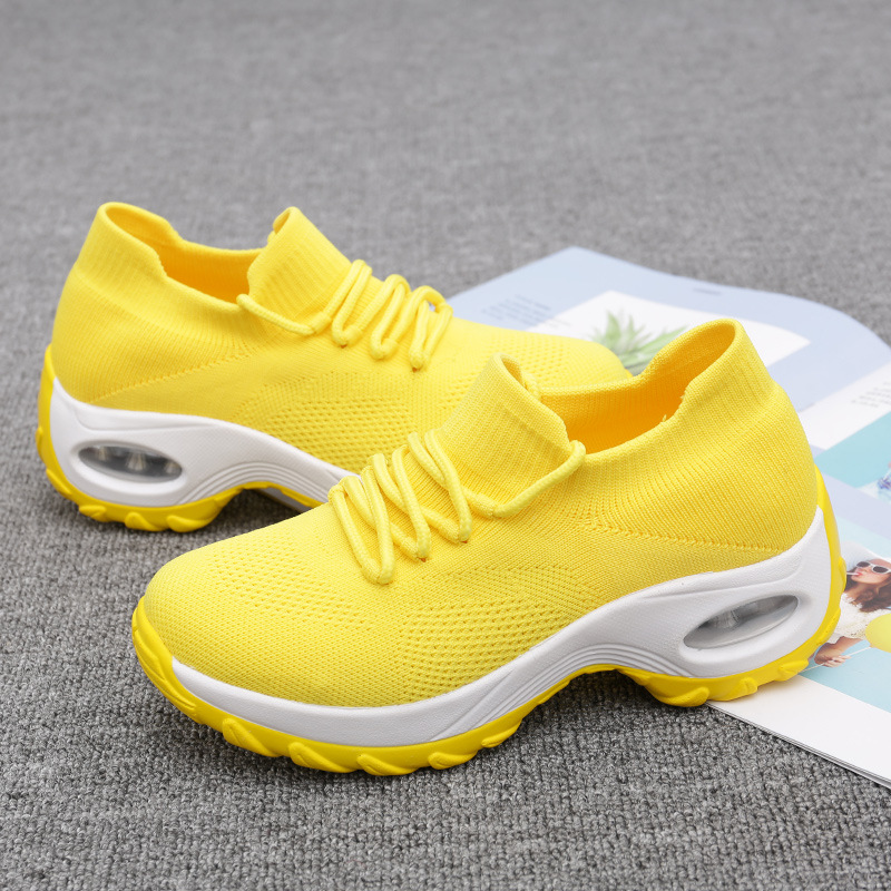 Cross-border Explosion Models Large Size Women's Shoes With Air Cushion Flying Woven Sneakers Fashion Rocking Shoes Casual Shoes Wild Socks Shoes