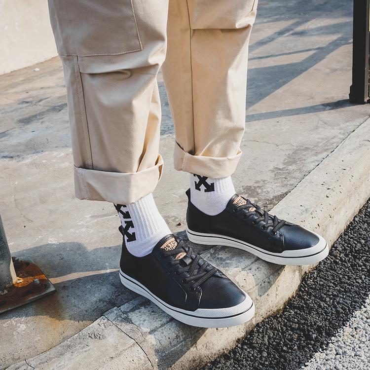 19春款真皮板鞋男鞋英伦百搭白色青年男士休闲板鞋透气潮鞋小白鞋