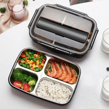 304不锈钢方形饭盒带餐具分格午餐盒成人学生带饭便当盒厂家直销