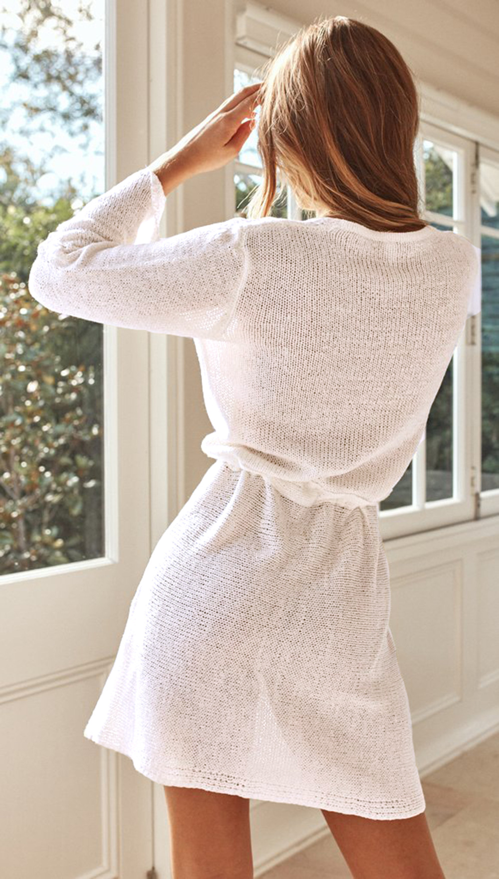 new hot-selling women's loose V-neck knitted lace long-sleeved dress  NSDF104