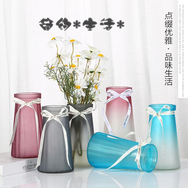 创意欧式彩色透明玻璃花瓶客厅插花摆件竖棱水培厂家直销可定做