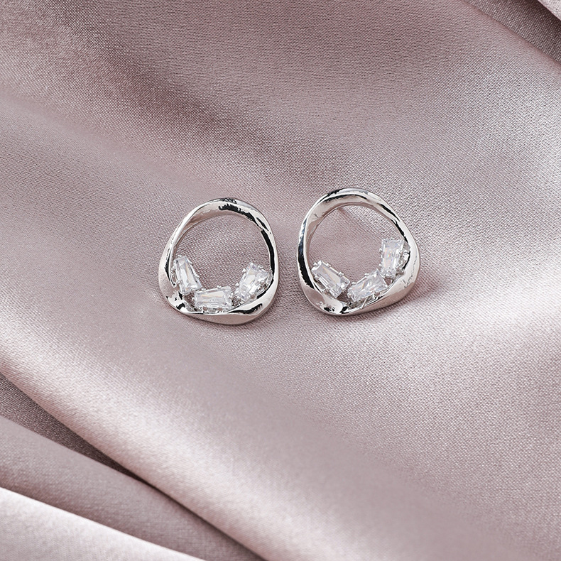 925 silver pin simple temperament circle earrings gold-plated fashion flash diamond geometric round stud earrings NHMS184492