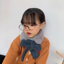韓國同款毛絨拼接兒童圍脖領巾 秋冬柔軟保暖寶寶套口圍巾脖套女
