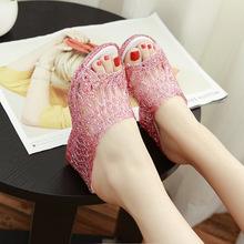 夏季新款女式高跟凉拖鞋 水晶闪粉透明果冻欧美坡跟一字拖女鞋