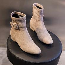 馬丁靴女2019新款秋冬季英倫風復古百搭短靴女粗跟中筒純色靴子女