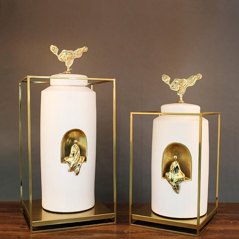 陶瓷工艺品摆件新中式花瓶玄关样板房 现代客厅禅意软装饰品纯铜
