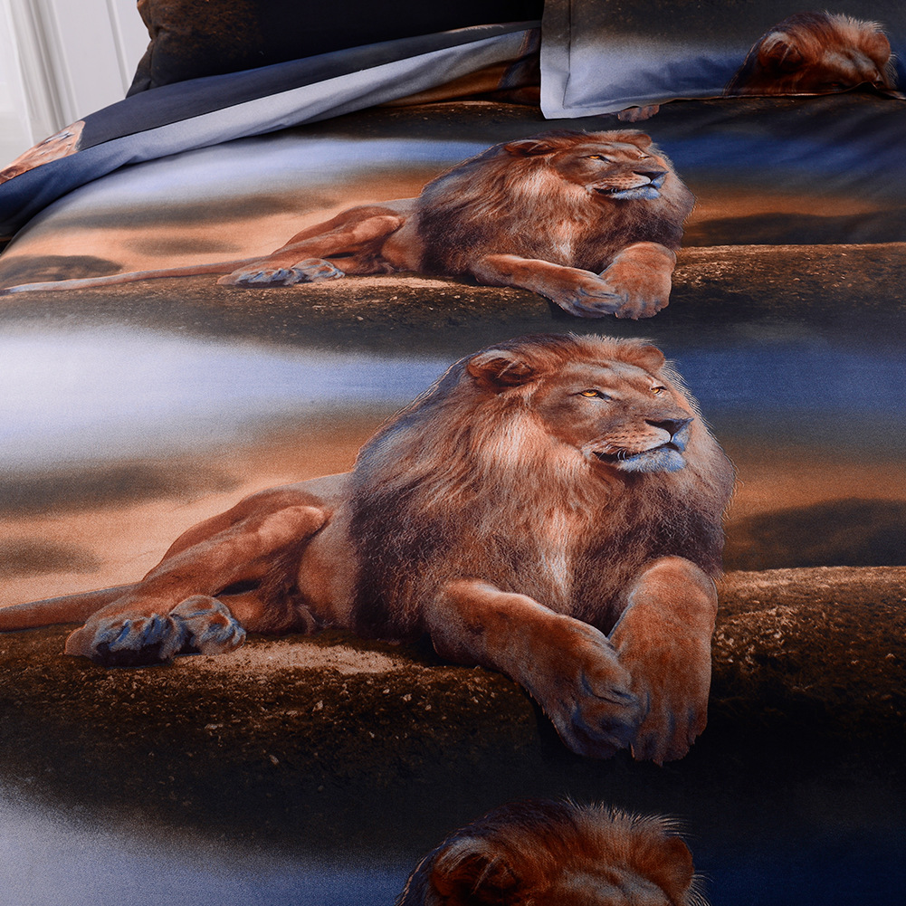 Softest Multi-bed lion print comforter duvet cover pillowcase twin / queen / king NHSP134523