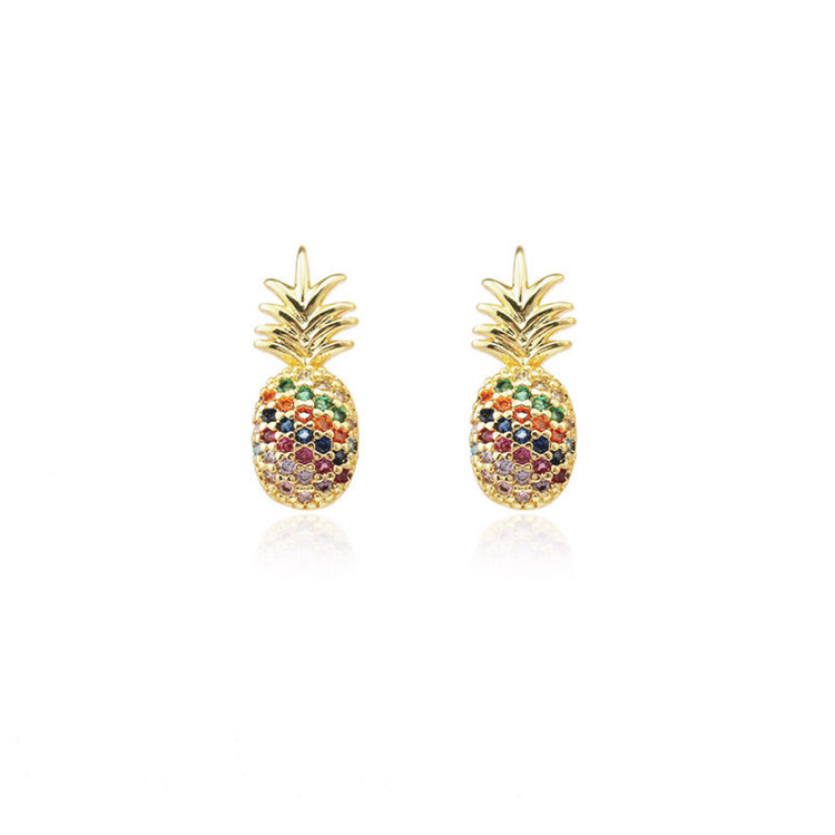 Fashion color rhinestone-studded pineapple earring NHLN143678