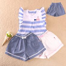 19新款纯棉童装公主系女童夏季条纹短袖蝴蝶结裙裤套装 一件代发