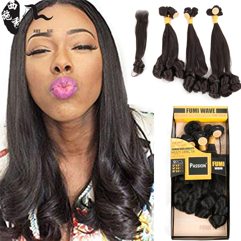 Africa foreign trade wig chemical fiber hair curtain set 9 pieces Fumi wave European and American women's wig