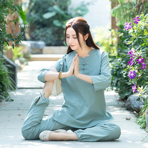 Yoga clothing taichi kung fu suit stand collar cotton linen Jacquard buckle Women's Zen clothing top Two-piece practice clothes