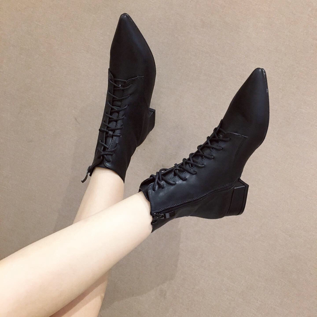 Pointed lanyard with low heel ankle boots fashion slim Martin boots NHHU180039