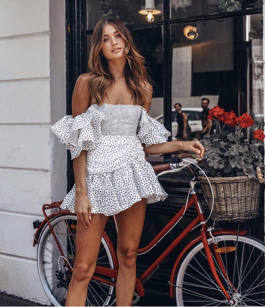 Transportation - 80s Vintage Style Off Shoulder Puff Dot Print Pleated Party Ruffles Summer Dress