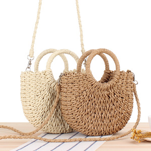 half round straw bag beach hand woven bag