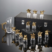 12只十二生肖白酒杯套裝分酒器水晶玻璃中式酒具小酒杯一口杯家用