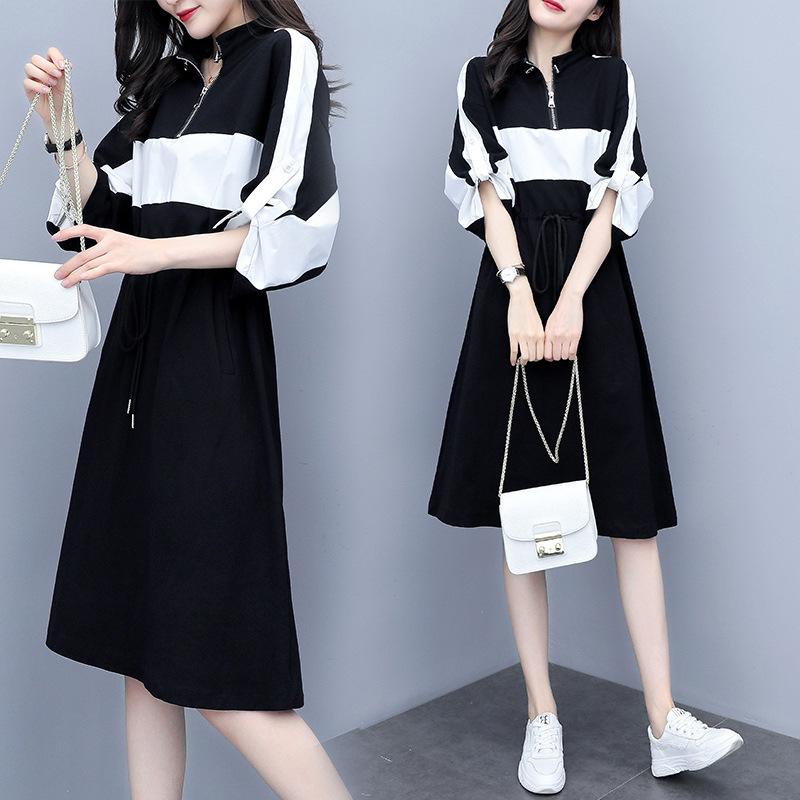 2019夏季新款宽松收腰撞色拼?#26377;?#38386;连衣裙时尚名媛风中长款卫衣裙