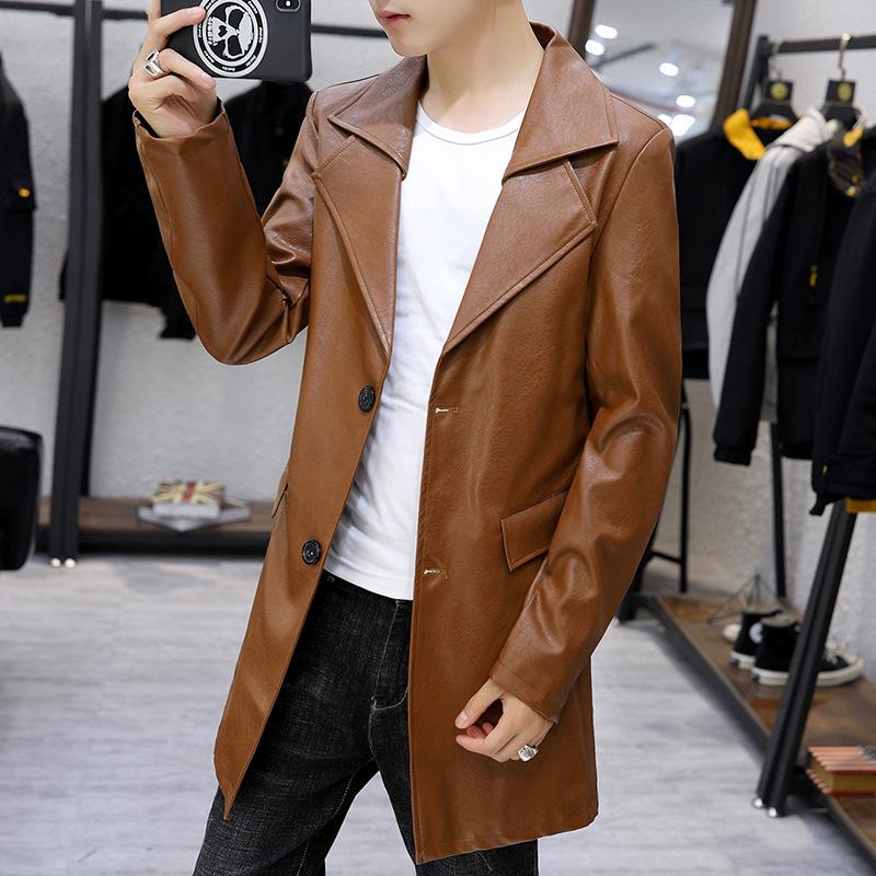 时尚型男皮大衣两粒扣中长款皮外套 高档PU皮双层翻领男士皮风衣