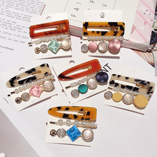 3件套珍珠发夹韩国网红亚克力边夹少女刘海夹彩色发卡夹子头饰厂