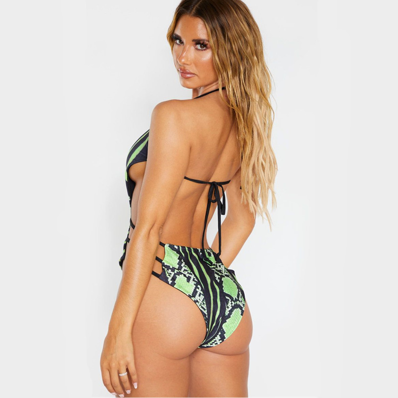 New Large One-Piece Swimsuit Explosion Snakeskin Printed One-Piece Swimsuit NHHL200048
