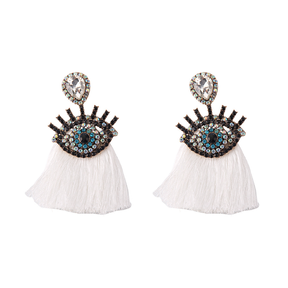 Fashion Alloy Diamond Devil's Eye Tassel Earrings NHJQ153555
