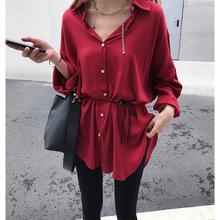 女装2019秋季新款港味宽松bf衬衫女中长款长袖chic衬衣外套上衣潮