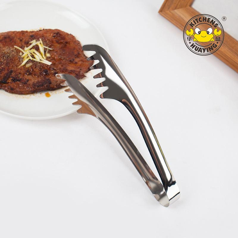 家盈厂家直销厨房不锈钢齿状冰夹 全钢自助西餐意粉面条食品夹