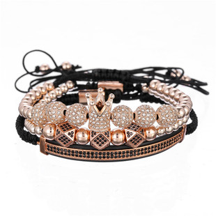 Fashion Natural Volcanic Stone Tiger Eye Bracelet Copper Micro Inlaid Zircon Crown Bracelet Men's Bracelet NHZU198281
