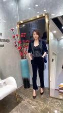 欧洲站写字楼2019原版正品早秋款拼色丝绒气质西装外套+休闲裤女