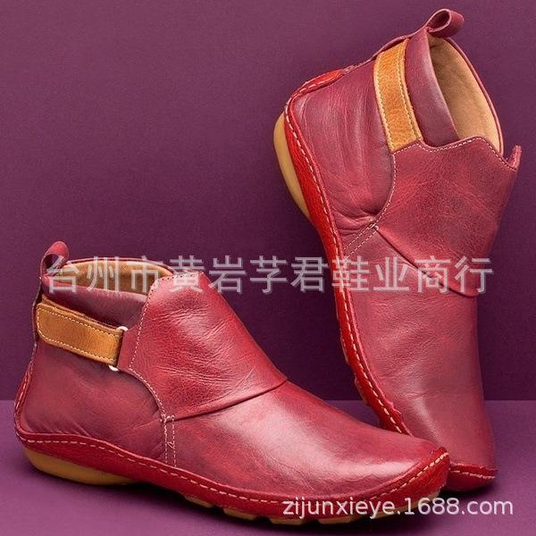 独立站wish新款女圆头休闲女式皮靴套筒时装靴保暖棉鞋平底马丁靴