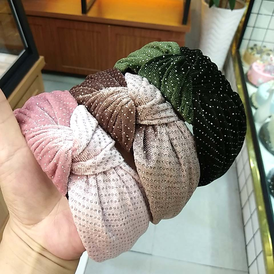 new velvet knotted headband solid color fabric wide-edge hot diamond hairpin hair accessories wholesale nihaojewelry NHUX229953
