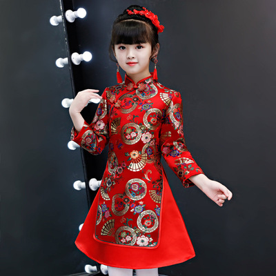 Cheongsam for kids Children Chinese Dress cheongsam Tang girl Chinese Dress ancient red style cotton thickened worship nation