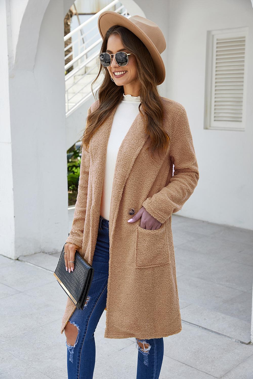 long-sleeved plush woolen coat women's long coat NSDF3049