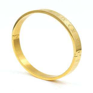 Fashion trend all-match punk Roman alphabet stainless steel four-color bracelet bracelet factory direct wholesale accessories