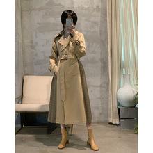 原创设计 复古格子翻领双排扣风衣 A型裙摆格子纯棉高支高密大衣