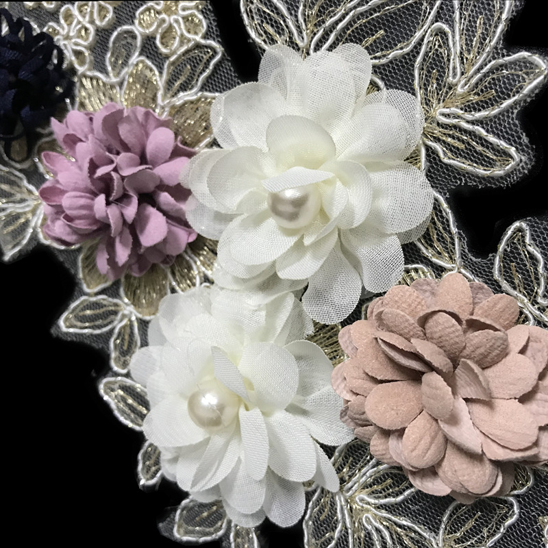 Bone rope embroidery flower pearl beads embroidered cloth stickers Turkish hand embroidery NHLT178422