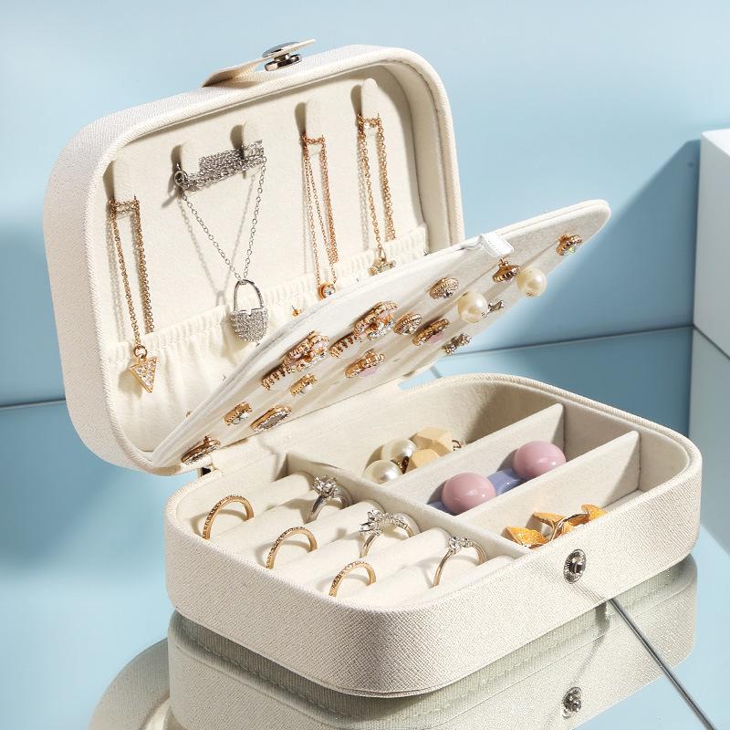 跨境双层饰品首饰收纳盒耳钉戒指绒布珠宝盒地摊亚马逊便携首饰盒