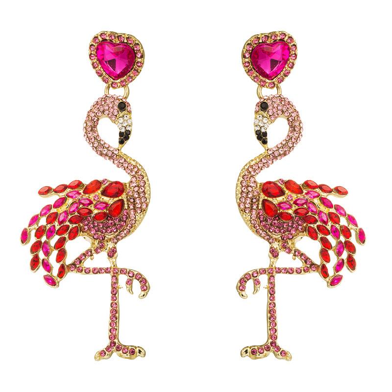 Hot Flamingo Earrings Women's Long Inlay Rhinestone Women's Stud Earrings Vintage Alloy Earrings NHLN177058