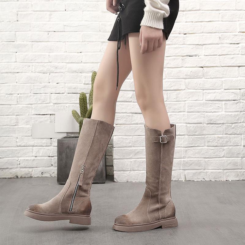 真皮靴子女2019新款秋冬季中长款马丁靴平底显瘦半高靴磨砂骑士靴