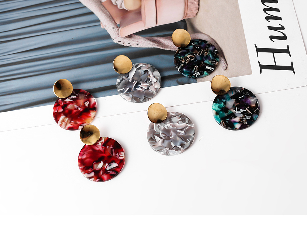 fashion alloy acrylic acetate round simple earrings NHYAO351137