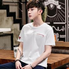 夏季新款潮流T恤男式短袖日系纯色上衣棉青少年水洗圆领体恤