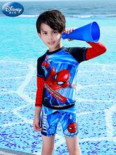 迪士尼兒童泳衣男童中大童分體長袖防曬游泳衣寶寶男孩溫泉款泳裝