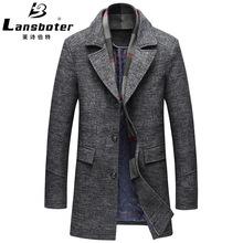 跨境专供新品秋冬款毛呢大衣男中长款加厚羊毛呢外套休闲男式大衣