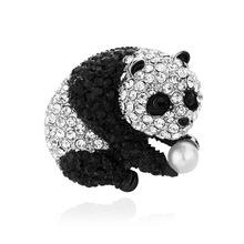 爆款热销水钻合金胸花男 卡通熊猫满钻别针 胸针 百搭衣饰女批发