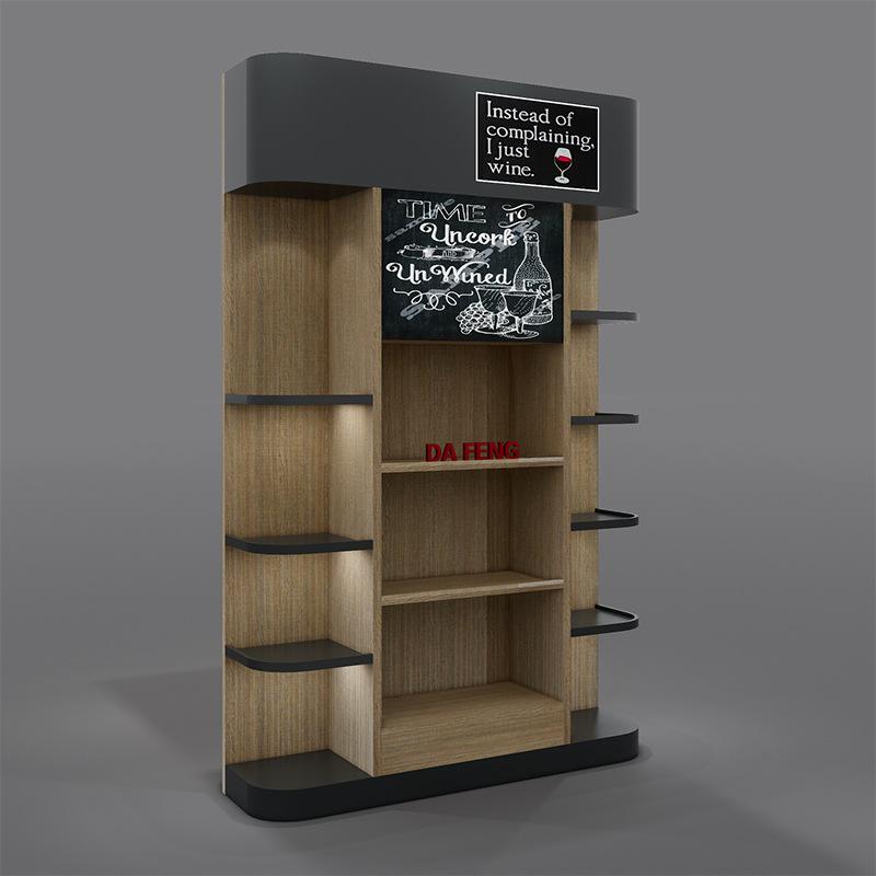 免漆板红酒展柜包柱展示陈列架