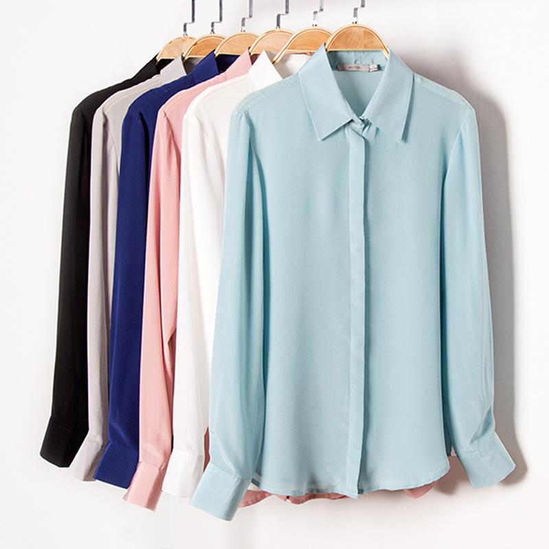 春2020新款女装真丝衬衫女长袖桑蚕丝白领OL风双绉上衣小尖领衬衣