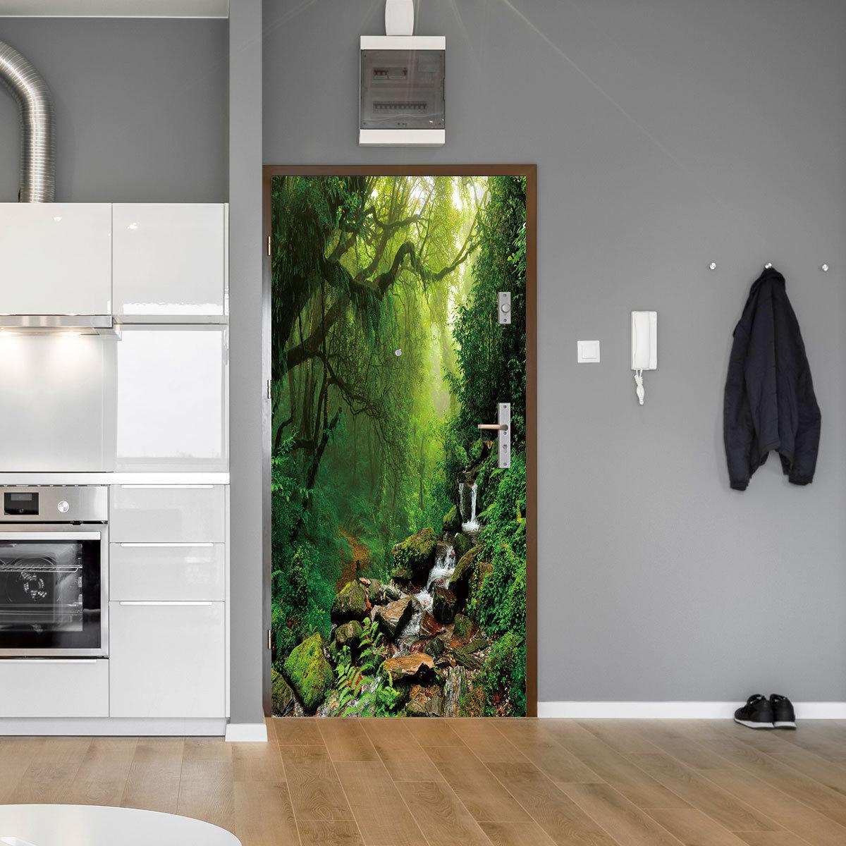 DZMT071丛林迷雾创意3d立体门贴 家居个性装饰墙贴自粘背胶防水