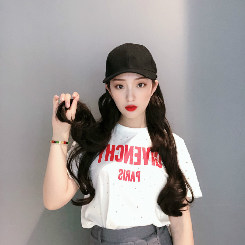 Wig female long hair fashion duck hat wig long straight natural hat with wig NHXB184937