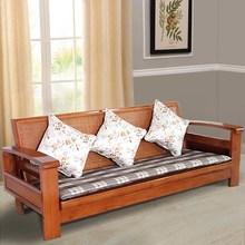 伸缩实木客厅床可两用三人折叠多功能小户型简约现代沙发藤椅客厅
