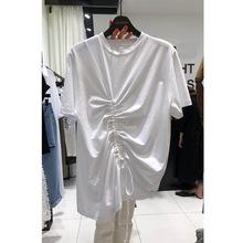 短袖女抽绳宽松黑色t恤女设计感上衣韩国夏装新款圆领时尚?#36824;?#21017;